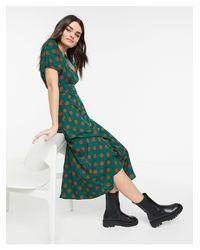 Платье Мидакси A-силуэта С Запахом И Узором В Горошек -зеленый AX Paris, цвет: Green