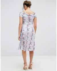 ASOS Multicolor Wrap Bardot Skater Dress In Floral Print