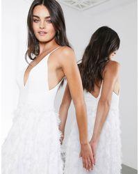 Платье С Глубоким Вырезом И Перьями -белый ASOS, цвет: White