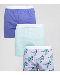 ASOS Blue Jersey Boxers With Dj Dinosaur Print 3 Pack Save for men