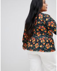 ASOS Black Asos Design Curve Wrap Front Peplum Top In Fruit Print