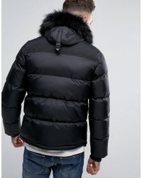 Schott Nyc Puffer Jacket Detachable Hood Faux Fur Trim Slim Fit In Black/black for men