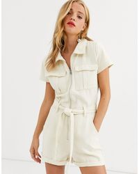 In The Style Natural X Fashion Influx Denim Short Sleeved Oversized Playsuit