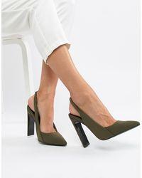 Poker - Chaussures à talons hauts et bride arrière ASOS en coloris Green
