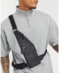 Bolongaro Trevor Black Metal Skull Grain Leather Harness Bag for men