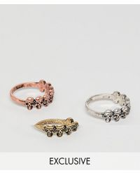 Reclaimed (vintage) Multicolor Inspired Ring Pack With Skulls And Mixed Metals Exclusive At Asos for men