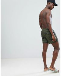 Abercrombie & Fitch Camo Print Swim Shorts Badge Pocket Logo In Green for men