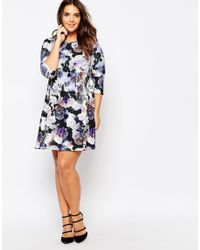 Praslin Blue Plus Swing Dress In Floral Print