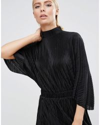 ASOS - Black Plisse Dress With High Neck - Lyst