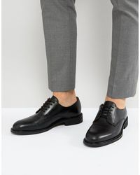 SELECTED Black Leather Derby Shoes for men