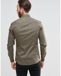 ASOS Natural Skinny Military Shirt In Khaki With Long Sleeves for men