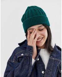 Bonnet en maille côtelée ASOS en coloris Green