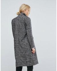 Vero Moda - Black Tailored Check Coat - Lyst