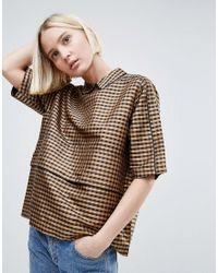 Ganni Brown Preston Silk Shell Blouse