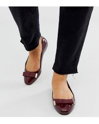 ASOS Red Wide Fit Lexy Bow Ballet Flats