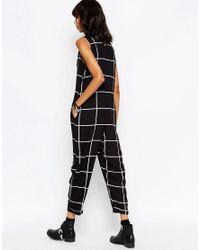 ASOS Black Linear Check Button Through Minimal Jumpsuit