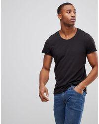 Jack & Jones Black Originals Longline T-shirt With Curved Hem for men