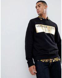 Versace Jeans Black Sweatshirt With Gold Print for men