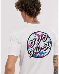 Santa Cruz – Dot – es. mit japanischen Blumen bedrucktes T-Shirt in White für Herren