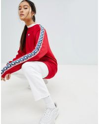 f26c9c856 Nike Crew Neck Sweatshirt In Red With Taped Side Stripe in Red - Lyst