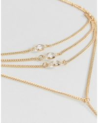 ASOS - Metallic Fine Crystal Detail Foot Chain - Lyst