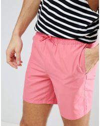 ASOS Asos Swim Shorts In Pink Mid Length for men