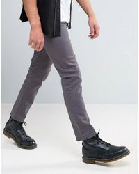 Mennace Gray Slim Fit Cropped Jeans With Raw Hem In Grey for men