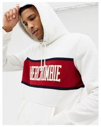 Felpa rossa e bianca con cappuccio, riga sul petto e logo di Abercrombie & Fitch in White da Uomo