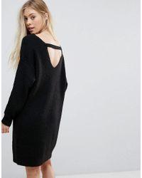 db6e3f7433f Lyst - New Look Back Detail Jumper Dress in Black