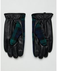Gants en cuir à carreaux compatibles avec écrans tactiles ASOS pour homme en coloris Black