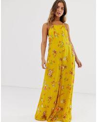 Комбинезон С Цветочным Принтом Free People, цвет: Yellow