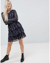 ONLY Blue Tiered Ditsy Skater Dress