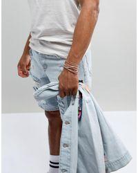 ASOS - Design Plaited Woven Bracelet Pack In Pink for Men - Lyst