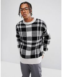Weekday Green Checked Ken Knitted Jumper for men