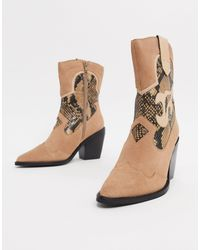 River Island Natural Suede Cowboy Boot