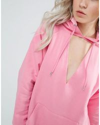 ASOS Pink Oversized Hoodie With Cut Out Front