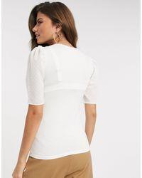Stradivarius White Ribbed T-shirt With Spot Detail
