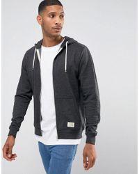 Blend - Gray Zip Thru Hoodie Core In Charcoal for Men - Lyst