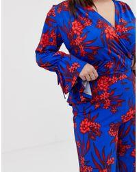 Красные Широкие Комбинируемые Брюки С Цветочным Принтом John Zack, цвет: Blue