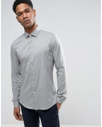 Reiss - Green Slim Smart Shirt With Concealed Placket for Men - Lyst
