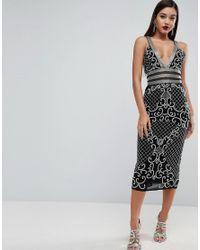 a89194cef067 ASOS Red Carpet Ergonomic Strappy Embellished Midi Dress in Black - Lyst