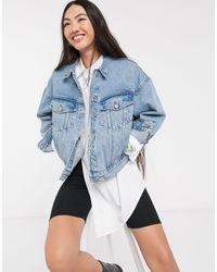 Weekday Blue Grand Organic Cotton Oversized Denim Jacket
