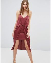 ASOS - Purple Drape Front Cami Midi With Zip Back Dress - Lyst