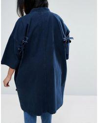 ASOS - Blue Denim Kimono With Split Sleeve And Tie Detail - Lyst
