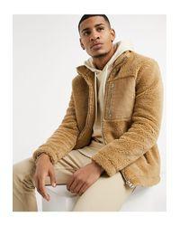Светло-бежевая Куртка Из Искусственного Меха -коричневый Topman для него, цвет: Brown