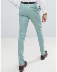 Pantalon de costume ultra ajusté en lin - Vert sauge ASOS pour homme en coloris Green
