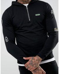 ASOS Black Oversized Hoodie With Half Zip & Badges for men