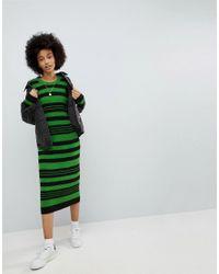 Vestido midi de punto a rayas de ASOS ASOS de color Green