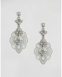 ASOS - Metallic Jewel Vine Filigree Earrings - Lyst