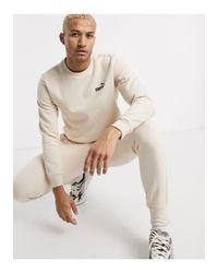 PUMA White Small Logo joggers Stone-neutral for men